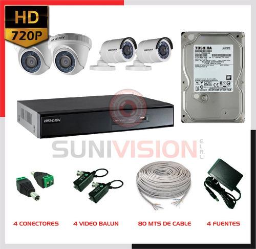 kit  4 cámaras hikvision hd disco 1 tb completo accesorios