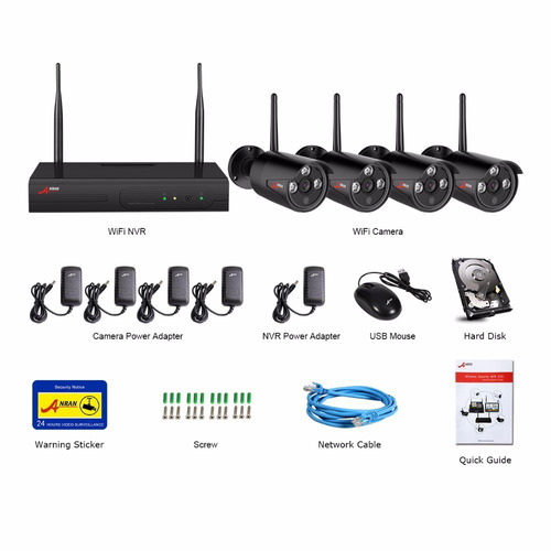 kit 4 camaras inalambricas hd wifi cctv nvr