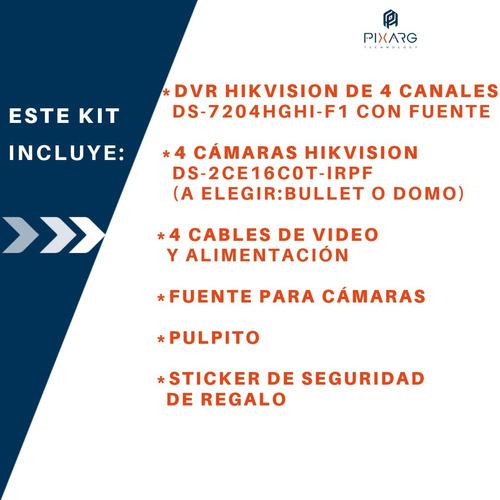 kit 4 camaras seguridad hik dvr hikvision full hd lite p2p qr + cables o baluns a eleccion