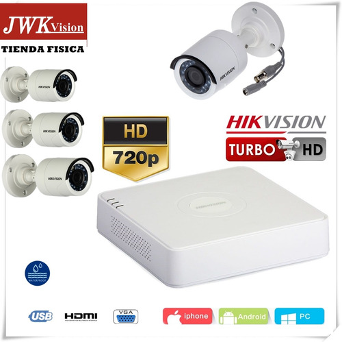 kit 4 camaras seguridad hikvision bullet turbo hd 720p jwk