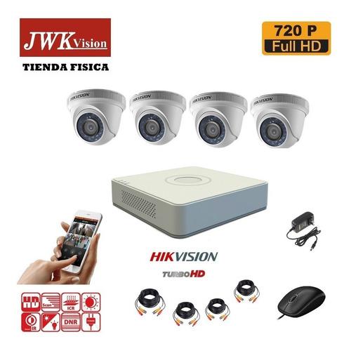 kit 4 camaras seguridad hikvision domo turbo hd 720p jwk
