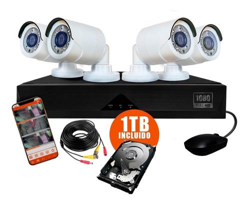 kit 4 camaras seguridad ip dvr full hd infrarroja rigido 1tb
