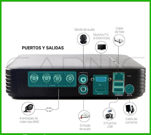 kit 4 camaras seguridad ip hd cctv dvr hdmi disco 1tb hdmi