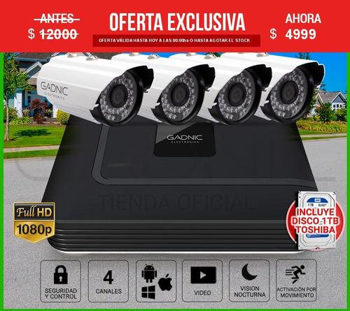 kit 4 camaras seguridad ip hd cctv dvr hdmi infrarrojas 1tb