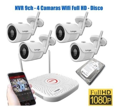 kit 4 camaras seguridad wifi full hd exterior disco fuentes
