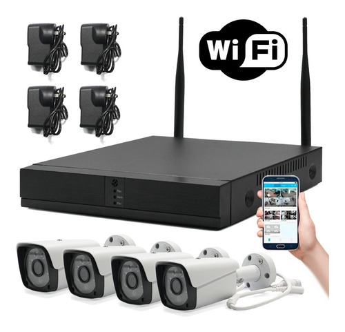 kit 4 cámaras wifi full hd ip nvr inalámbrico exterior 1080p