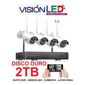 Kit 4 Cámaras Wifi Vigilancia Inalámbrico + Disco Duro 2tera