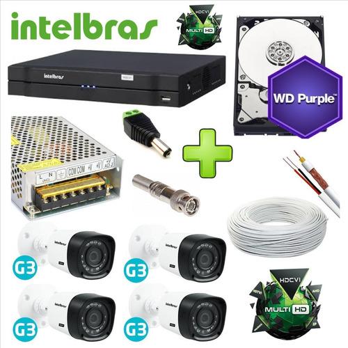 kit 4 cameras hd alta definição dvr intelbras 8c hd purple