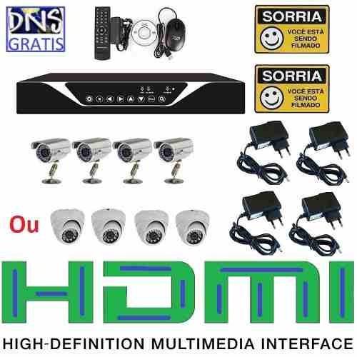 kit 4 cameras infravermelho ccd sony dvr 4 canais d1 celular