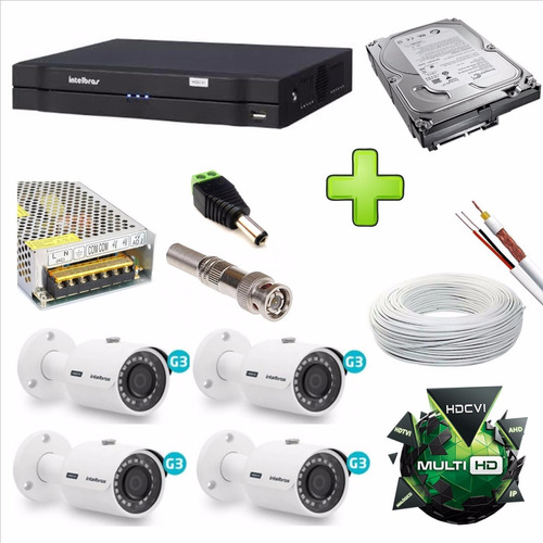 kit 4 cameras intelbras 30 mts vhd 3130b + dvr 1004 4 canais