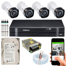 Kit 4 Câmeras Intelbras Multi Hd G4 720p Dvr 4 Ch Mhdx 1104