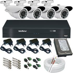 Kit 4 Câmeras Segurança Infravermelho Dvr Intelbras Multi Hd