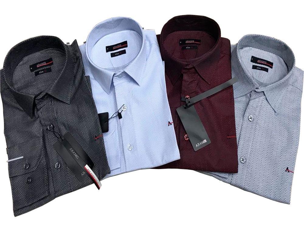 6a738e0930786 Kit 4 Camisa Social Aramis Texturizada Marca Dagua Desenhada - R ...