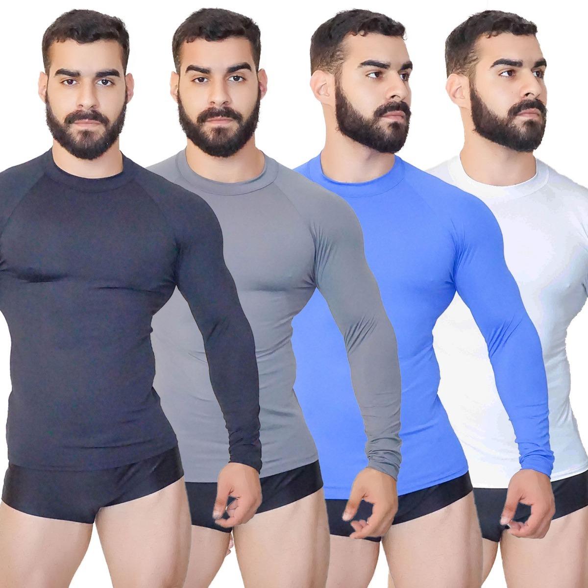 kit 4 camisa térmica blusa masculina segunda pele praia surf. Carregando  zoom. c2e4989ae0a4a