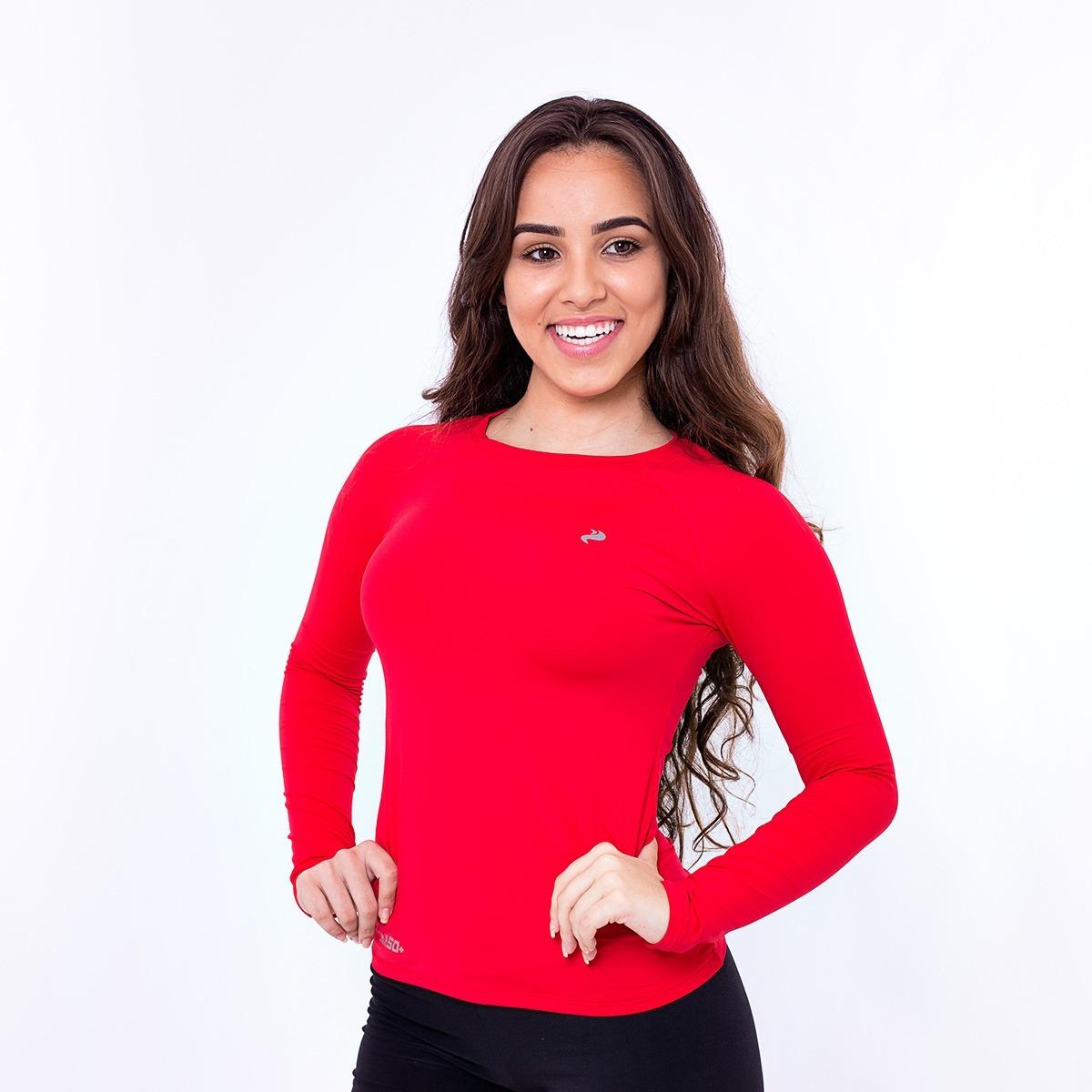 kit 4 camisas feminina proteção uv solar térmica segunda pel. Carregando  zoom. 00550db753f