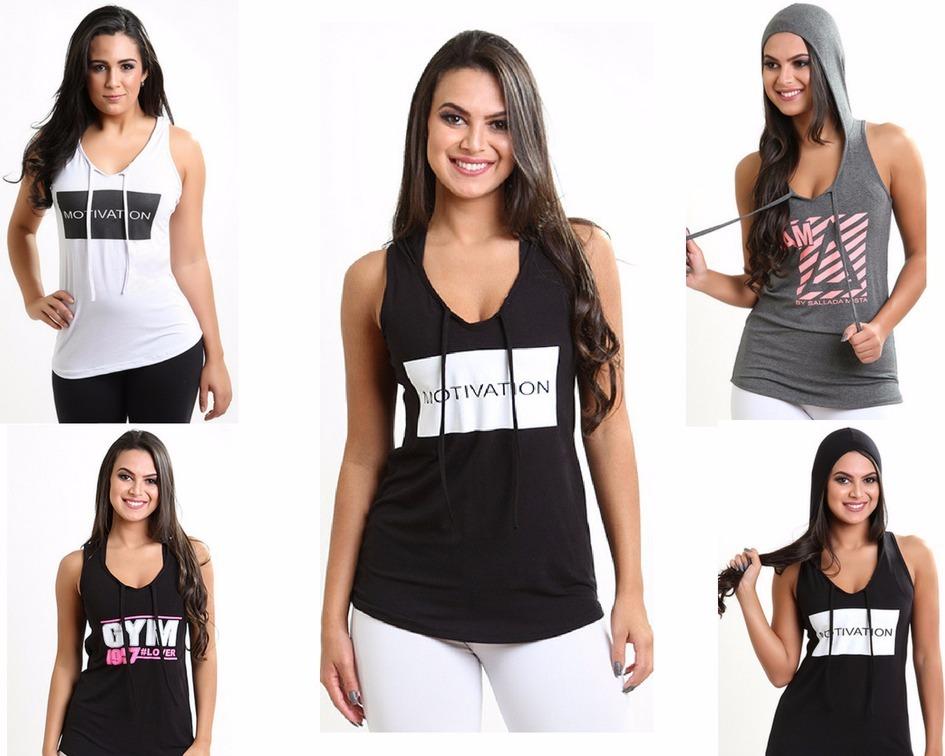 e7abe0e60 kit 4 camiseta fitness moda feminina capuz blusa umbrokem. Carregando zoom.