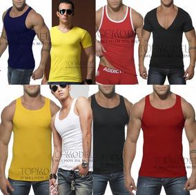 db87469f92 Camiseta Regata Gola V Com Capuz Masculina Em Viscolycra - Camisetas  Masculino no Mercado Livre Brasil