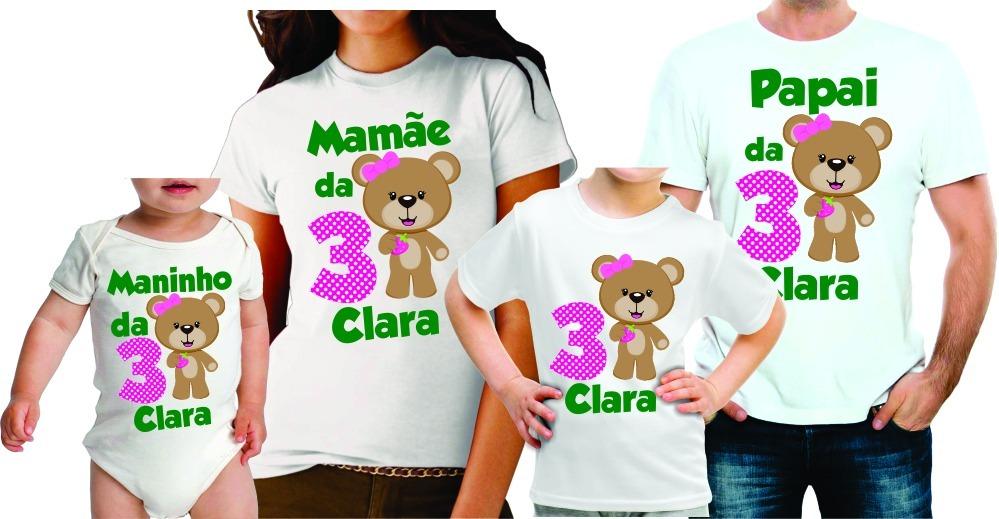 c328ce37f9 kit 4 camisetas personalizadas aniversário tema ursinha. Carregando zoom.