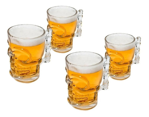 kit 4 caneca caveira vidro 510ml cerveja cristal rock chopp