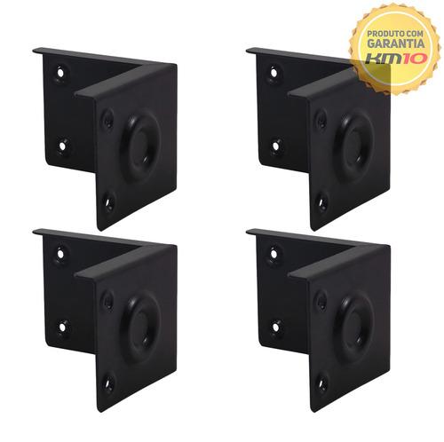 kit 4 cantoneira metálica p/ caixa som acústica - preto