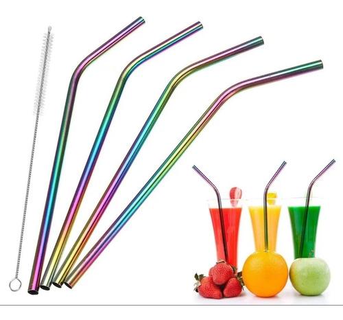 kit 4 canudo de metal reutilizável com escova de limpeza