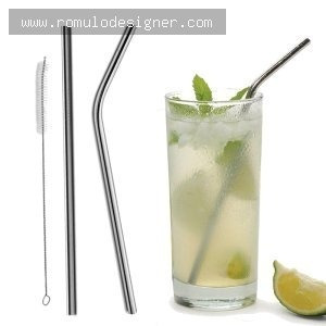 kit 4 canudos reutilizáveis água suco refri  inox promoção