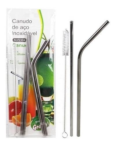 kit 4 canudos reutilizaveis reto curvo em aço inox + escova