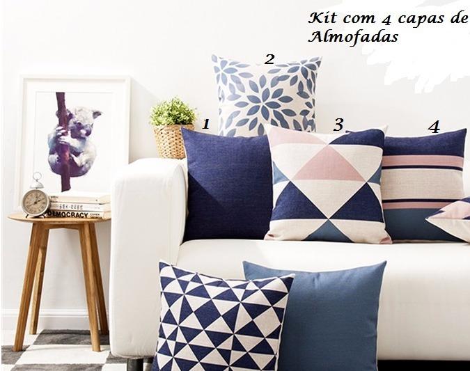 b93c61529 Kit 4 Capas Almofadas Decorativas 45cm Azul Rosa - R  237
