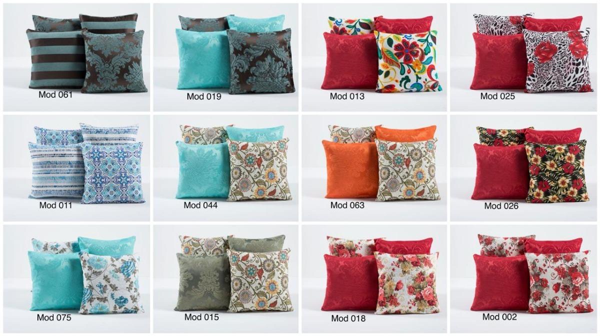 e1bf97b0cb3650 Kit 4 Capas Para Almofadas Colorida E Estampada Azul Tiffany