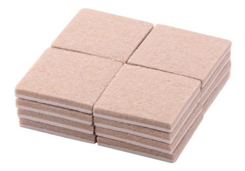 kit 4 cartela feltro adesivo pé cadeira quadrado 2cm-c/12 pç