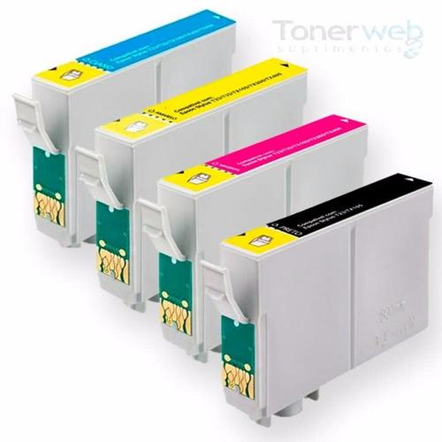 kit 4 cartucho compatível p multifuncional epson tx105 tx115