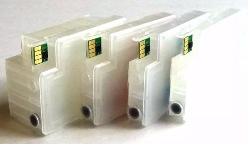 kit 4 cartuchos recargables hp 950 951 8600 8610 8620 lleno
