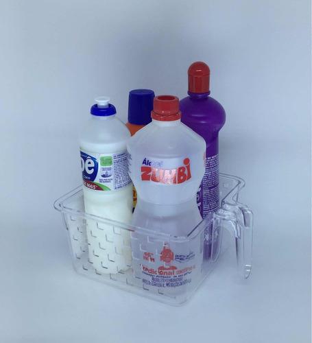 kit 4 cesta organizadora com alça para geladeira despensa p