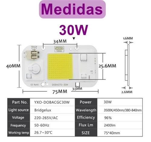 kit 4 chip led 30w branco quente 220v nao usa reator e solda