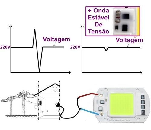 kit 4 chip led 50w verde 220v inteligente nao usa reator driver