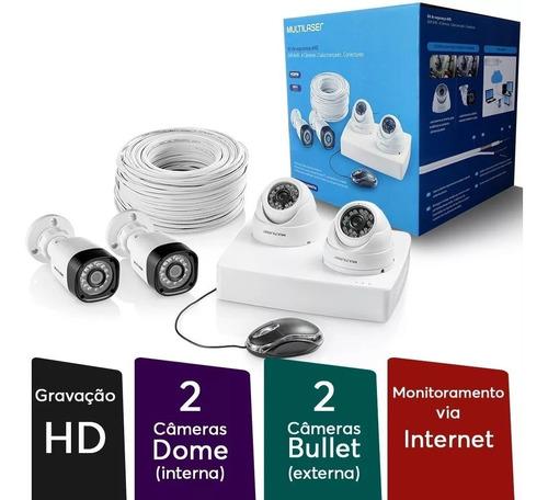 kit 4 câmeras de segurança hd 720p dvr 4ch acesso celular