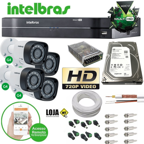 kit 4 câmeras intelbras 1010b g4 dvr 4 canais intelbras 1tb