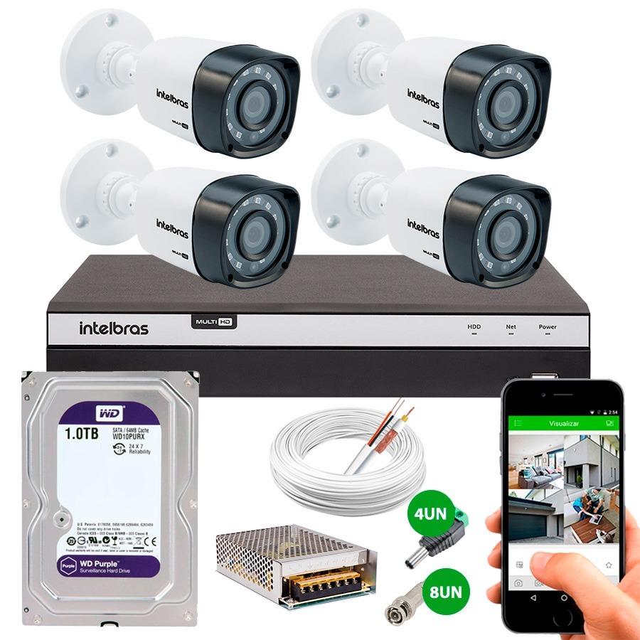Kit 4 Câmeras Segurança Full Hd 1080p 1220b Dvr Intelbra 1tb - R ...