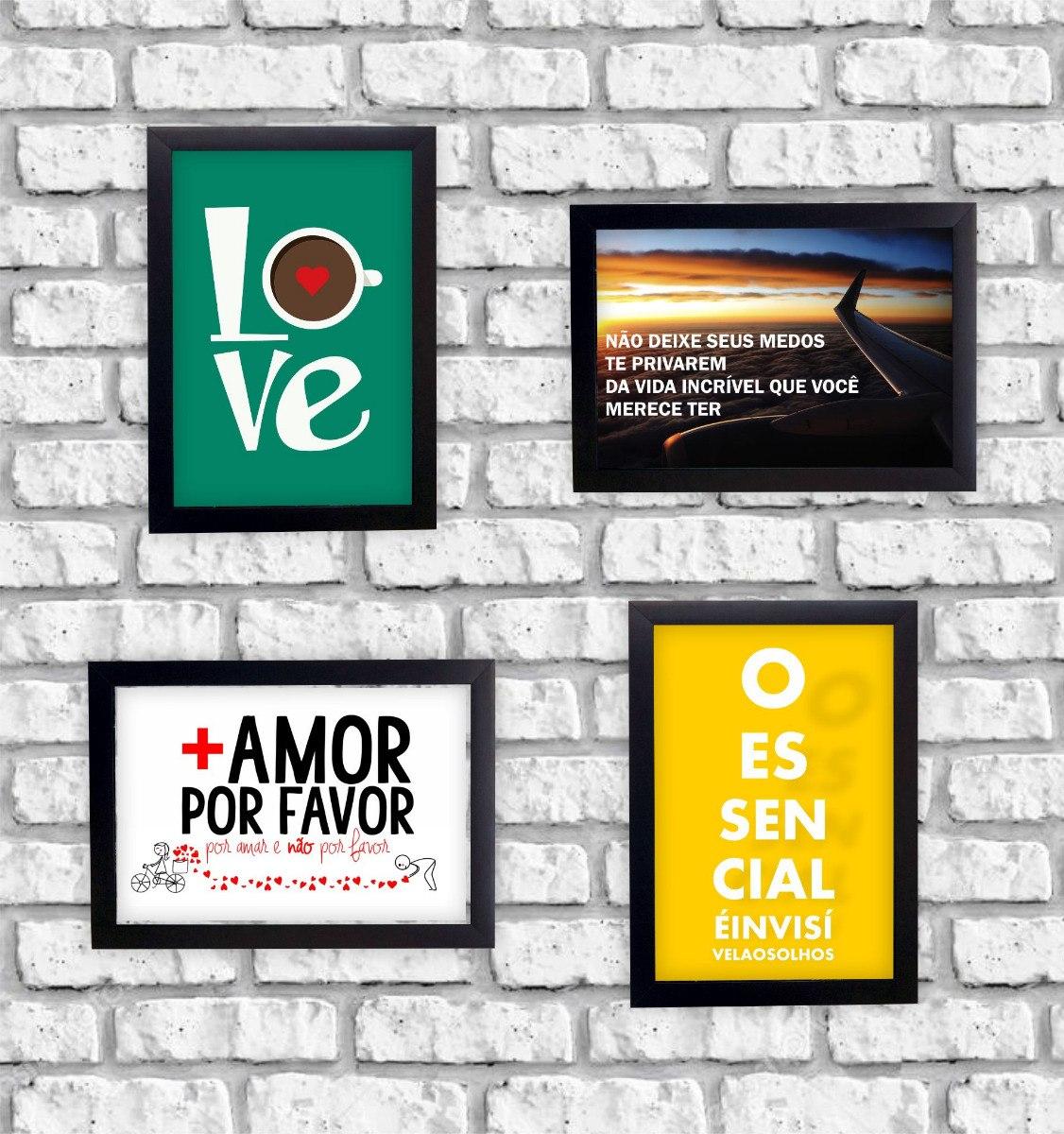 Kit 4 Composição Quadros C Moldura Frases Mais Amor 23x33cm R 179