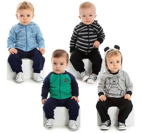f9866c217a0e27 Kit 4 Conjuntos Moletom Bebê Menino Calça E Blusa Roupa Frio