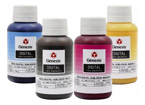 kit 4 cores tinta sublimática gênesis 4x 100ml sublidesk