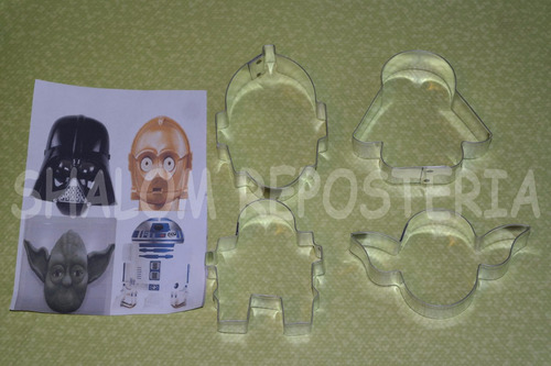 *kit 4 cortadores galleta star wars royal icing fondant*
