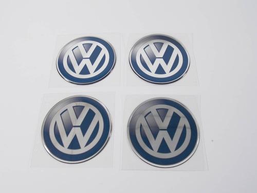kit 4 emblemas centro roda resinado volkswagen 65mm cl4