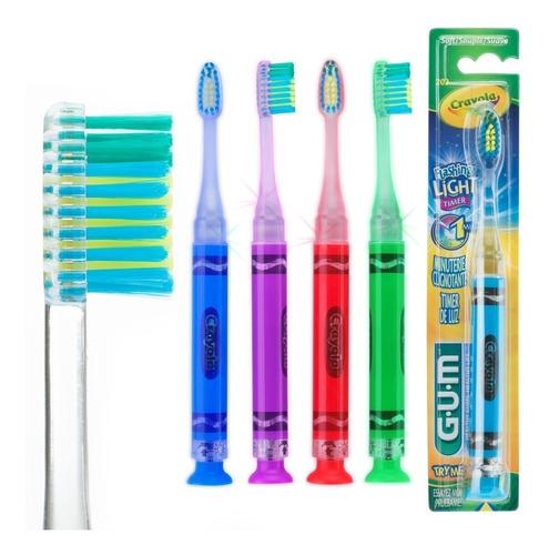 kit 4 escovas infantil crayola lighter - com luz que pisca
