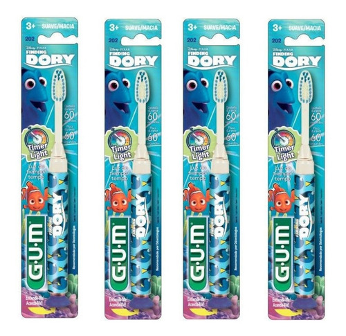 kit 4 escovas infantil dory lighter com luz que pisca 1min.