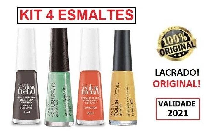 Kit 4 Esmalte Avon Color Trend 8ml Original Varias Cores R 13