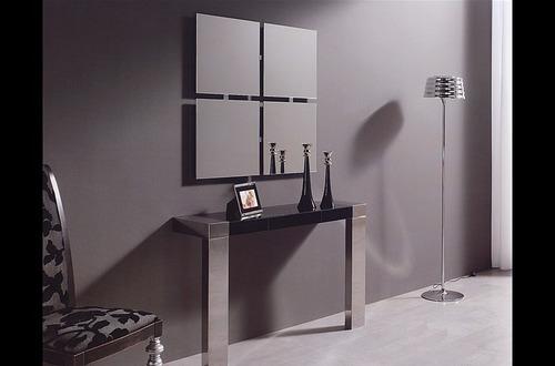 kit 4 espejos cuadrados decoracion baño oficina living etc.
