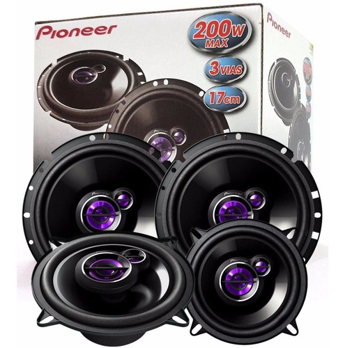 kit 4 falantes pioneer porta dianteira/ traseira peugeot 207