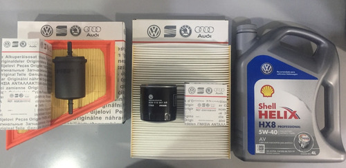 kit 4 filtros ( aceite aire habitaculo combustible ) + 4lt aceite shell helix volkswagen gol trend repuestos originales
