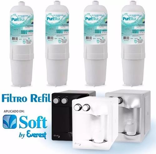 kit 4 filtros refil purificador de agua soft everest